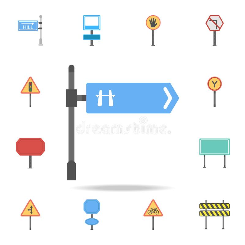 Motorway road colored icon. Detailed set of color road sign icons. Premium graphic design. One of the collection icons for stock illustration