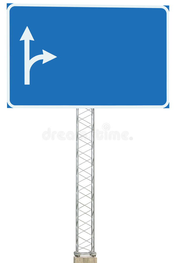 Motorway Road Junction Driving Direction Info Sign Panel Signboard, Large Isolated Blank Empty Blue Copy Space Roadside Signage. Motorway Road Junction Driving royalty free stock images