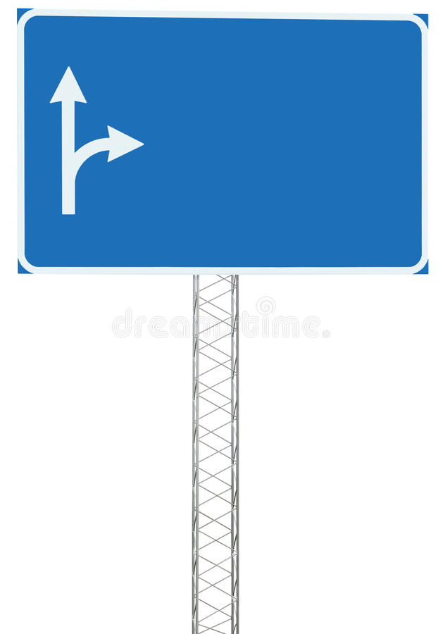 Motorway Road Junction Driving Direction Info Sign Panel Signboard, Large Isolated Blank Empty Blue Copy Space Roadside Traffic stock photo