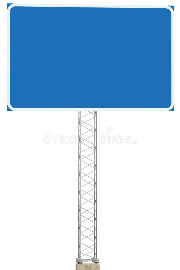 Motorway Road Junction Driving Direction Info Sign Signboard. Motorway Road Junction Driving Direction Info Sign Panel Signboard, Large Isolated Blank Empty Blue stock image