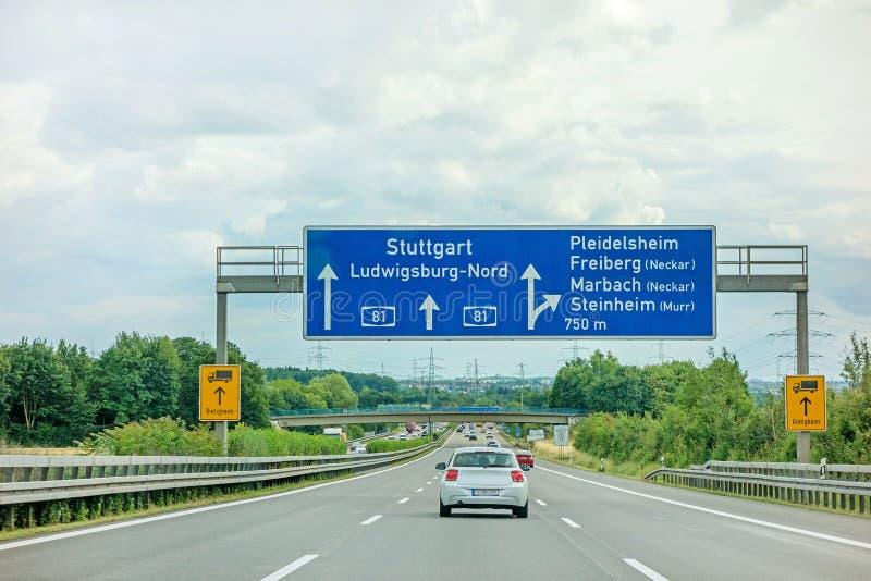 Motorway A81 - Stuttgart / Ludwigsburg / Pleidelsheim. Highway A81Autobahn near town Pleidelsheim, exit Freiberg / Marbach Neckar / Steinheim Murr - direction stock photos