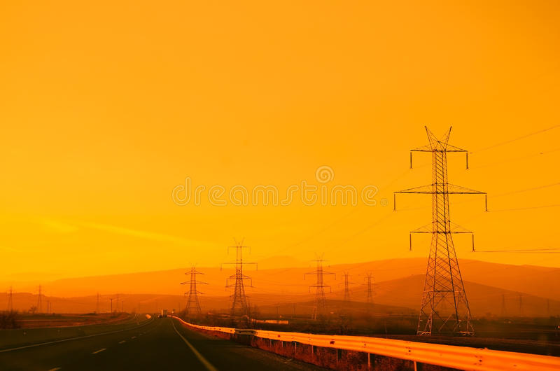 Motorway at sunset stock photography