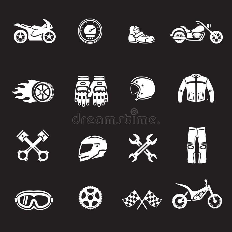 Motos emballant des icônes Symboles de Motosport illustration stock