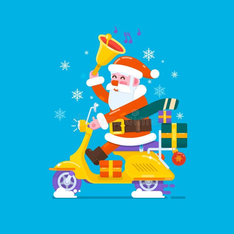 Motos heureuses de scooter d'équitation de Santa Claus de sourire pour envoyer des cadeaux Illustration plate de style de vecteur illustration de vecteur