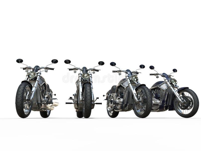 Motos noires de vintage dans une rangée photographie stock