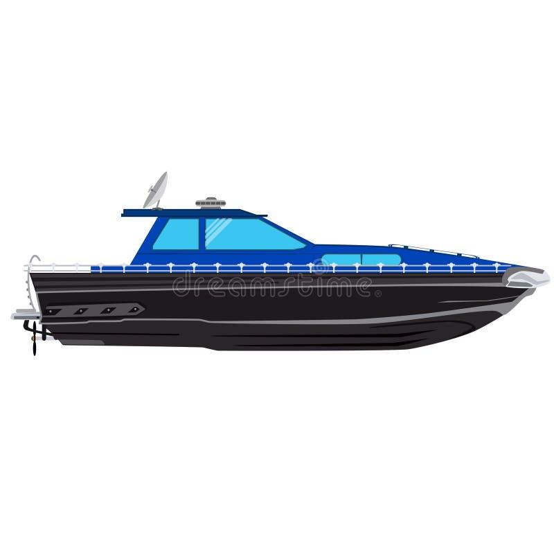 Motoscafo, da pesca l'illustrazione di vettore dell'imbarcazione a motore illustrazione di stock