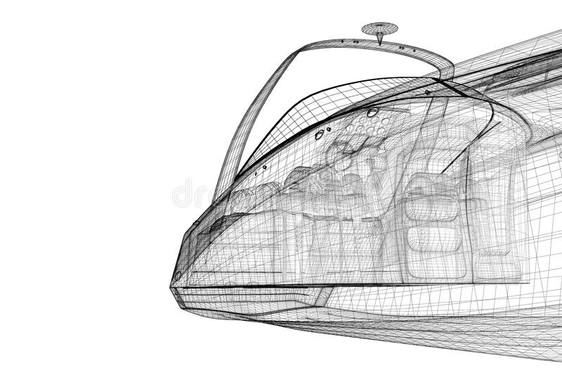 Motoscafo, fuoribordo d'accelerazione illustrazione di stock