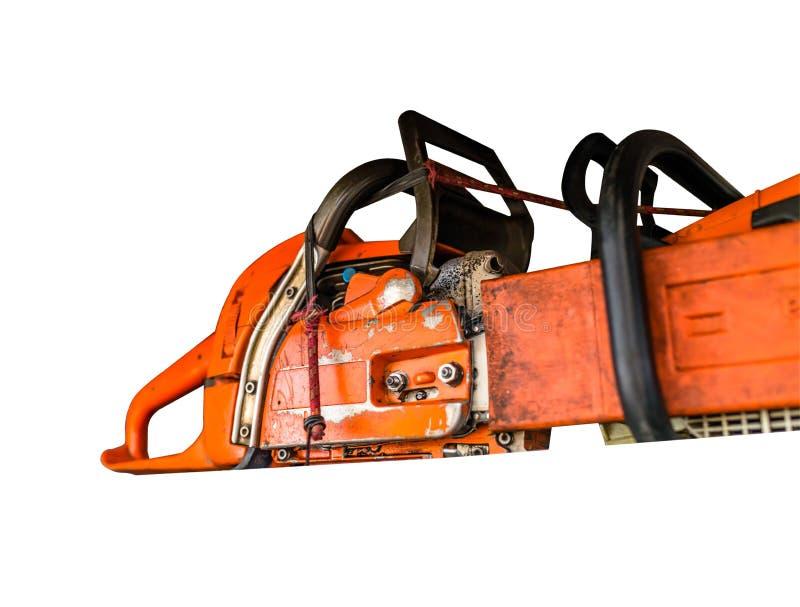 Motosega arancio con una lama fissata isolata su un fondo bianco con un percorso di taglio fotografia stock libera da diritti