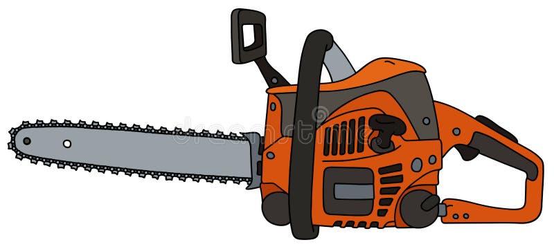 Motosierra anaranjada ilustración del vector