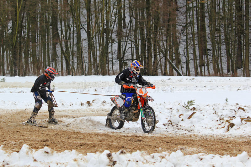 Motoskijoring competition stock photography