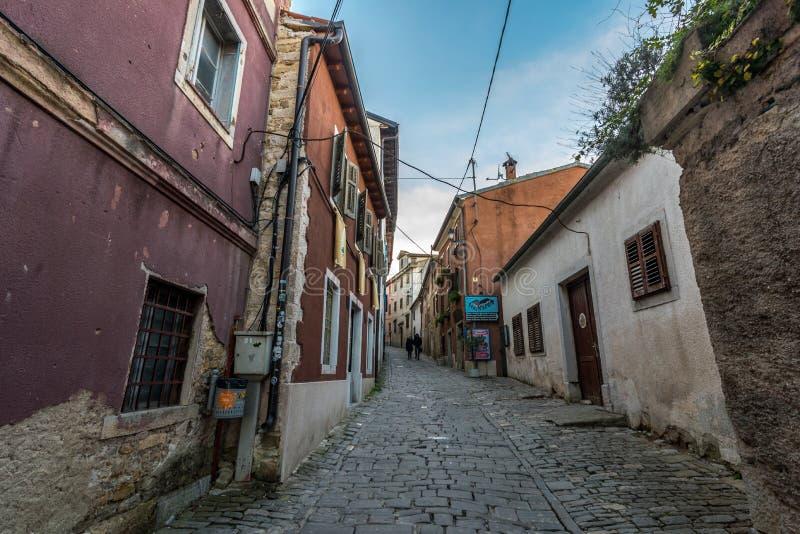 Motovun, Istria, Croatia, at afternoon. Street of Old Town Motovun, Istria, Croatia, photographed with my Nikon D750 at Winter afternoon stock photography