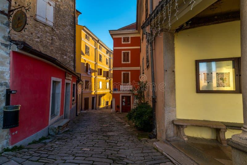 Motovun, Istria, Croatia,. Street of Old Town Motovun, Istria, Croatia, photographed with my Nikon D750 at Winter afternoon stock photo