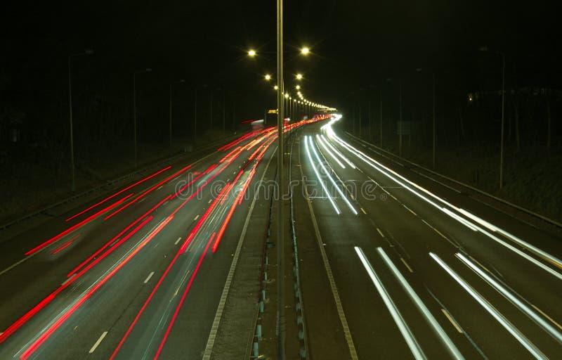 motoway晚上 免版税图库摄影