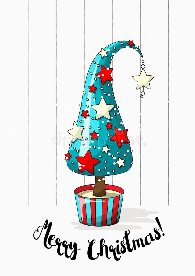 Motriz sazonal, árvore de Natal abstrata com estrelas, pérolas e Feliz Natal do texto, ilustração do vetor ilustração do vetor
