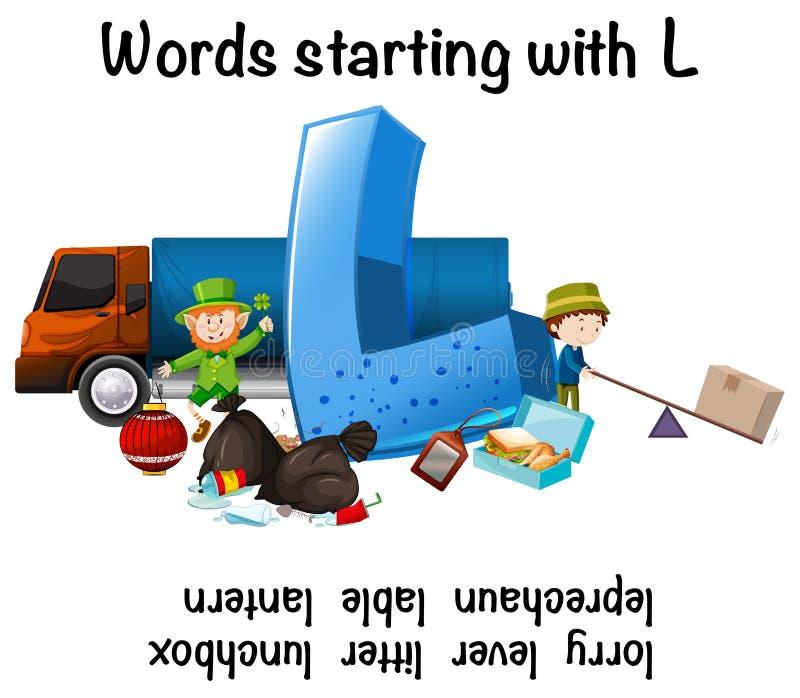 Mots anglais commençant par L illustration stock