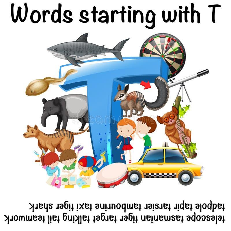 Mots anglais commençant par T illustration libre de droits