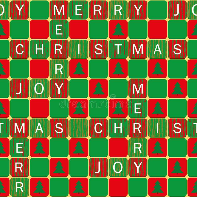 Mots blancs de Joyeux Noël et de joie sur le rouge de style de patchword, tuiles vertes avec des arbres de Noël Modèle sans coutu illustration de vecteur