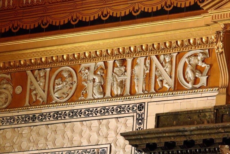 Mots carrelés dans le restaurant au musée de Victoria et d'Albert, Londres photos libres de droits