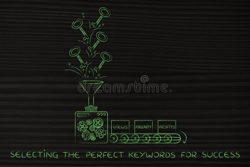 Mots-clés pour des bénéfices : usinez les clés de rotation dans des vues et le popula illustration de vecteur