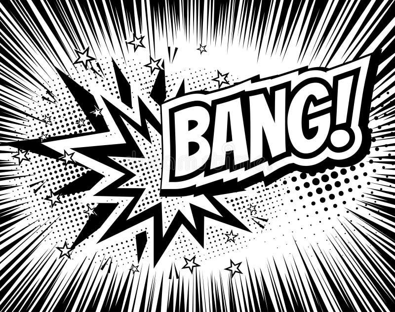 Mots comiques de bande dessinée de coup style de Bruit-art Illustration de vecteur avec le fond et les rayons tramés Calibre d'ex illustration stock