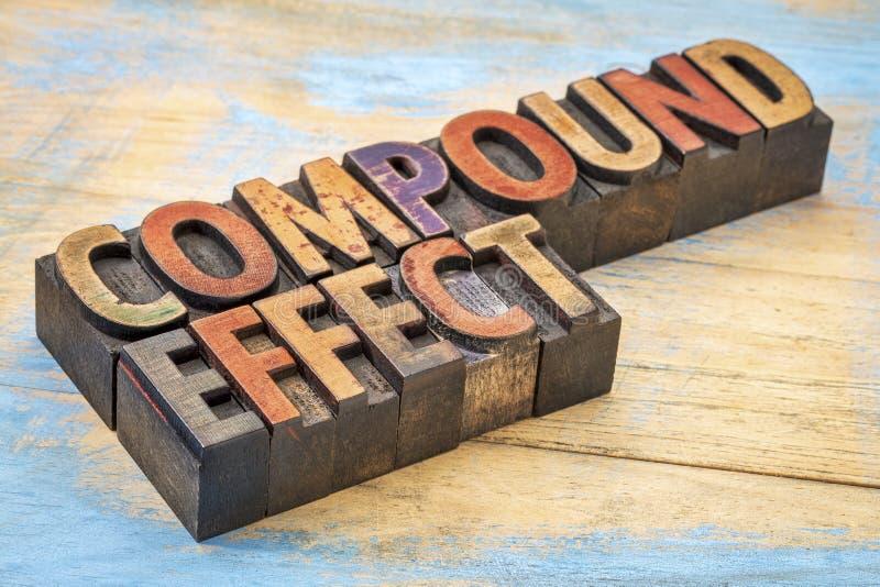 Mots composés d'effet dans le type en bois d'impression typographique photo stock