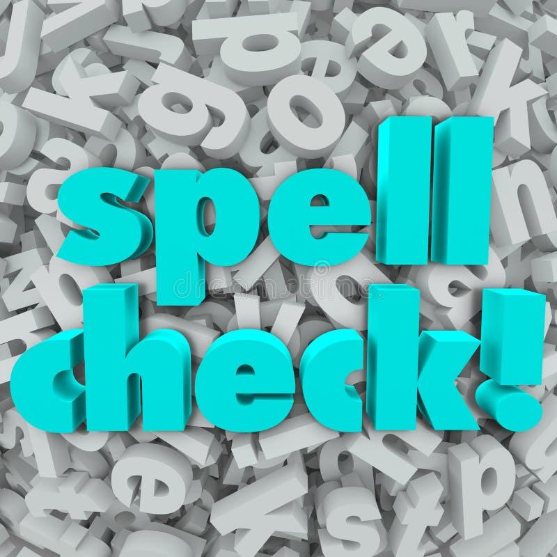 Mots corrects d'orthographe de fond de lettre de contrôle de charme illustration stock