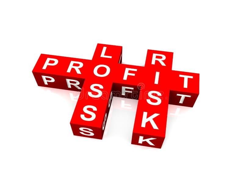 Mots croisé de bénéfice, de perte et de risque illustration stock