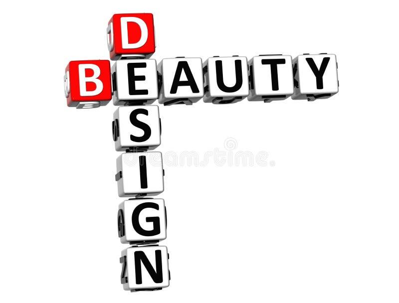 mots croisé de beauté de la conception 3D sur le fond blanc illustration stock