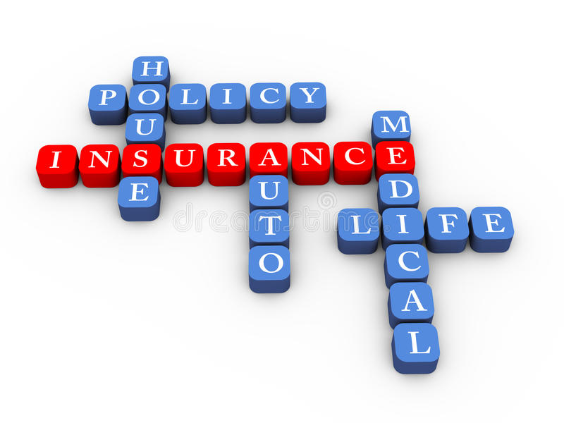 Mots croisé de concept de police d'assurances illustration libre de droits