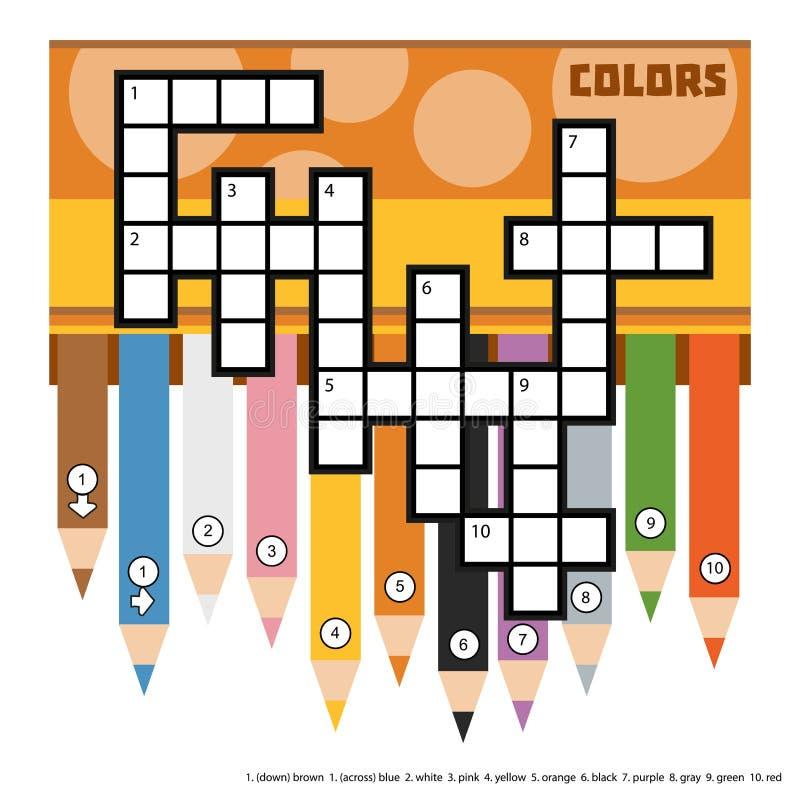Mots croisé de couleur de vecteur avec les crayons colorés illustration de vecteur