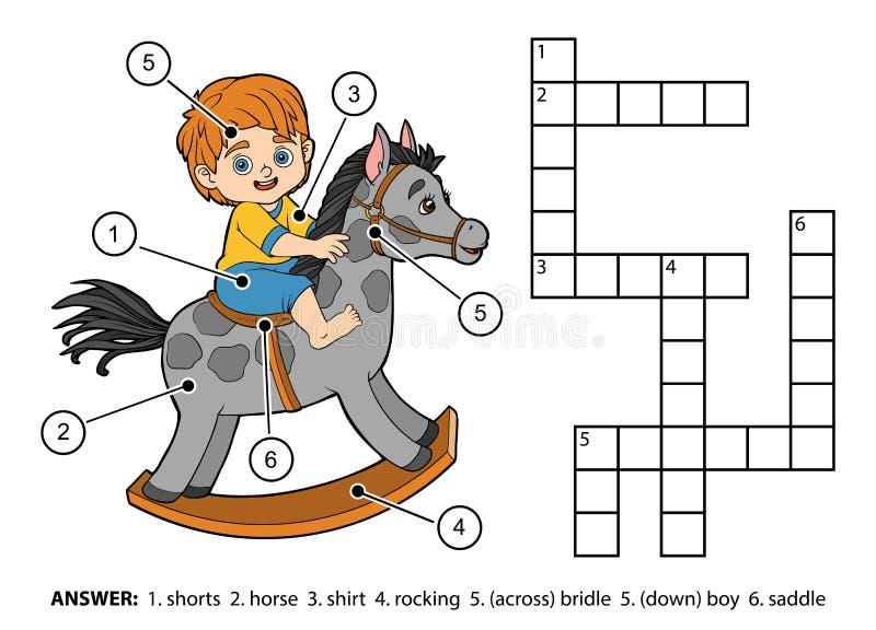 Mots croisé de couleur de vecteur Petit garçon sur un cheval de basculage illustration de vecteur