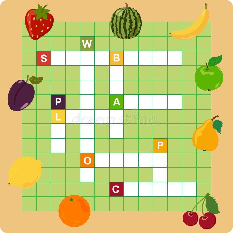 Mots croisé de fruit illustration de vecteur