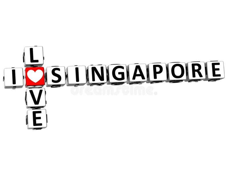 mots croisé de Singapour d'amour de 3D I illustration stock