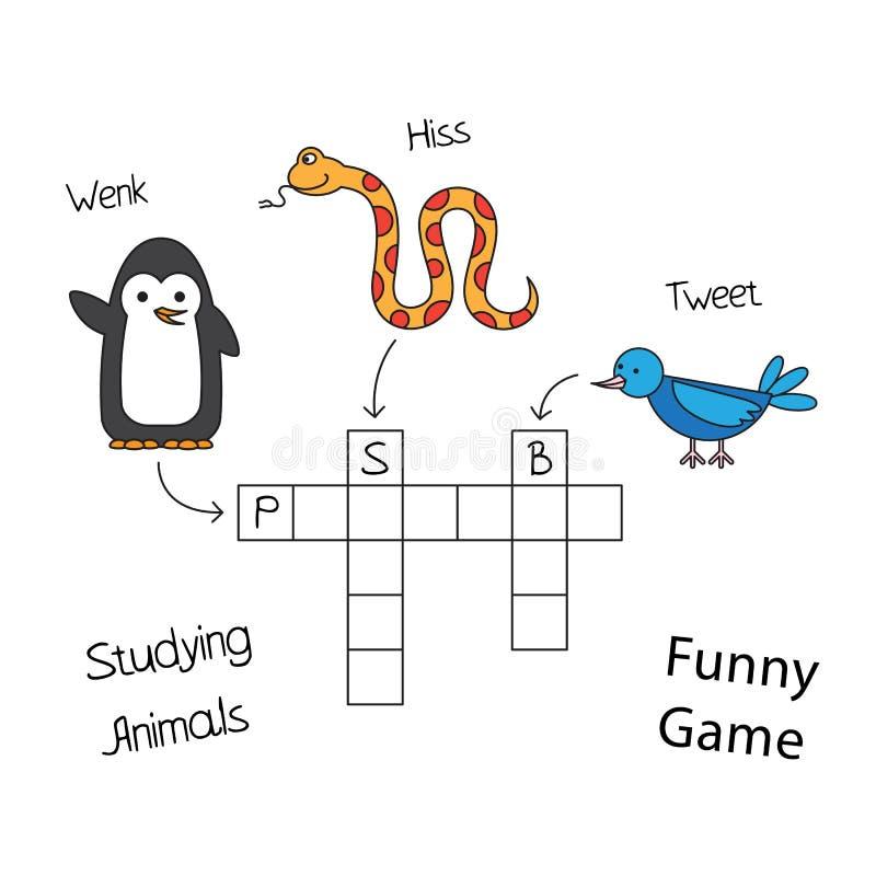 Mots croisé drôles d'animaux pour des enfants illustration libre de droits