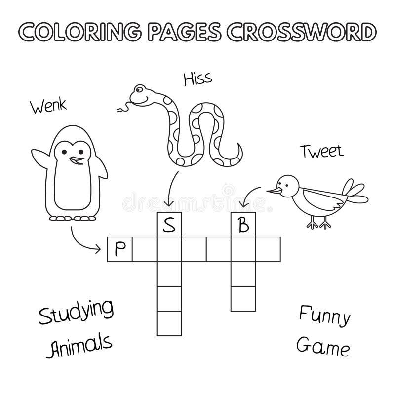 Mots croisé drôles de livre de coloriage d'animaux illustration stock