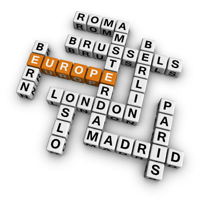 Mots croisé l'Europe illustration de vecteur