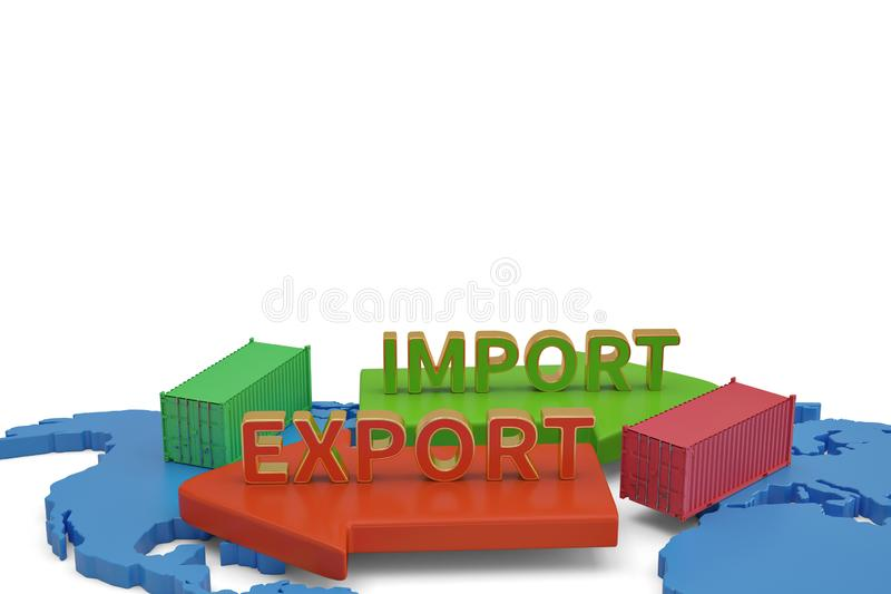 Mots d'importations-exportations avec la flèche et les récipients sur l'illustra de la carte 3D illustration libre de droits