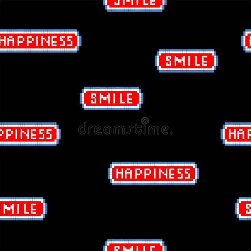 Mots de «bonheur et de sourire» dans la police mordue du jeu vidéo 8 de pixel modèle sans couture de rétro de style illustratio illustration stock