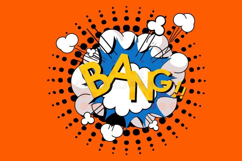 Mots de coup dans la bulle comique de la parole dans le style d'art de bruit Illustration images stock
