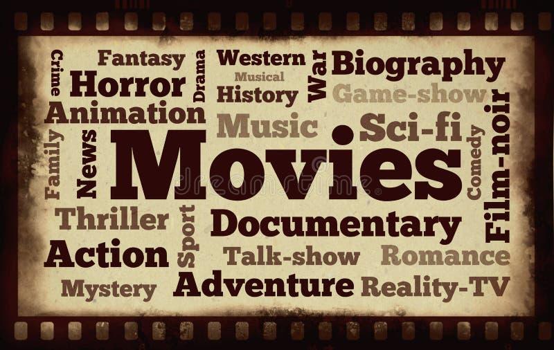 Mots de films sur le vieux fond d'extrait de film illustration de vecteur