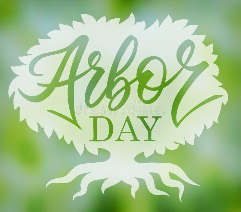 Mots de journée de l'arbre dans un arbre Écriture illustration stock