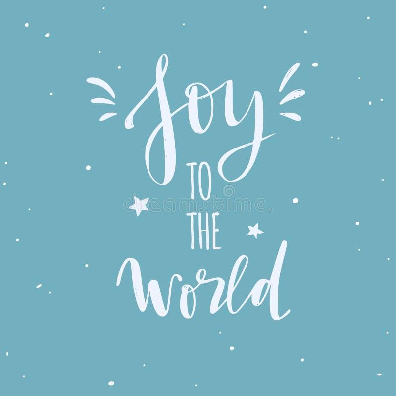 Mots de Joyeux Noël et de nouvelle année Le lettrage manuscrit d'affiche de typographie de vecteur l'a laissé neige illustration libre de droits