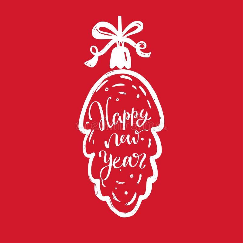 Mots de Joyeux Noël et de nouvelle année sur la décoration 4 d'arbre de Noël illustration stock