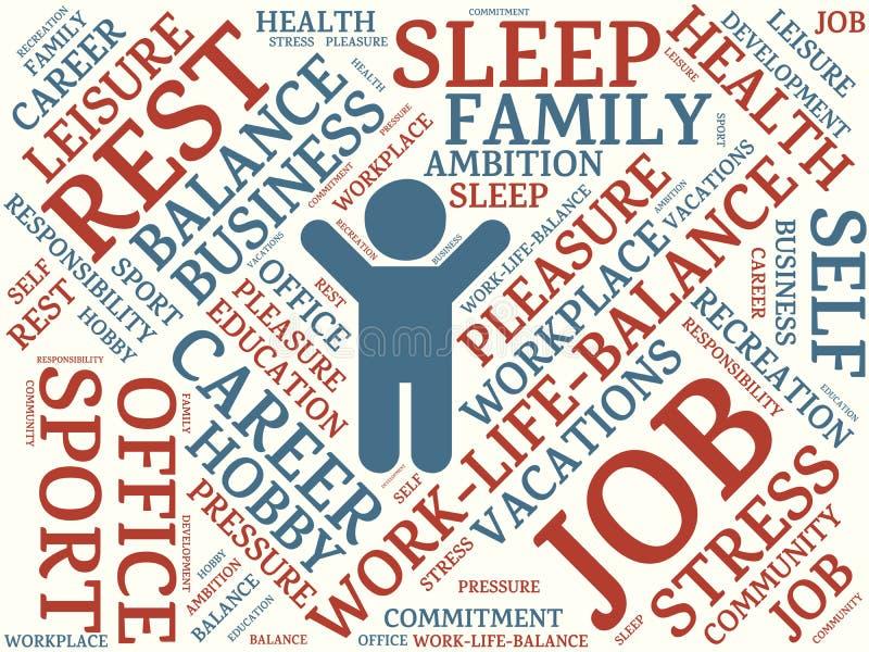 Mots de nuage de Word différents assignés au travail-vie-équilibre illustration de vecteur