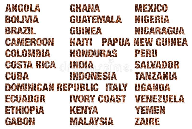 Mots de pays de café écrits des grains de café d'isolement photographie stock libre de droits