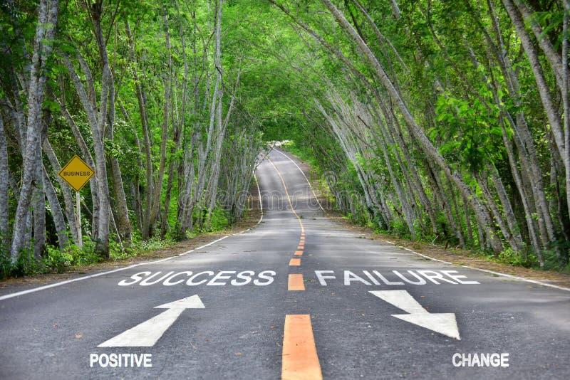 Mots de positif au succès et de manque de changer sur la route photo stock