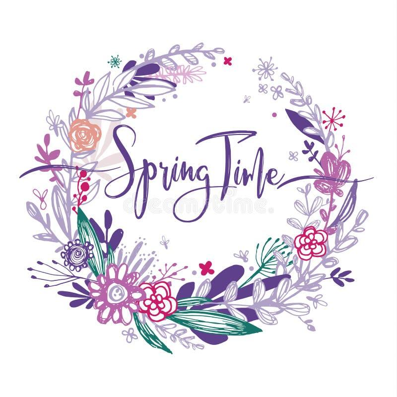 Mots de printemps avec les fleurs tirées par la main en cercle, éléments pourpres de griffonnage, herbe, feuilles, fleurs Vecteur illustration stock