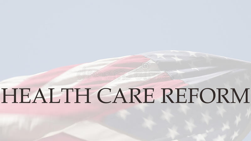 Mots de réforme de soins de santé sur le drapeau des Etats-Unis image libre de droits