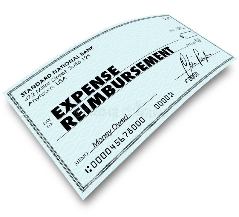 Mots de rapport de dépenses sur le paiement de remboursement de contrôle illustration stock