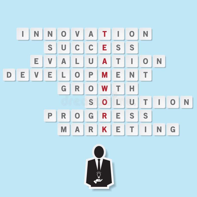 Mots de travail d'équipe de concept d'affaires sur flotter le puzzle carré illustration de vecteur